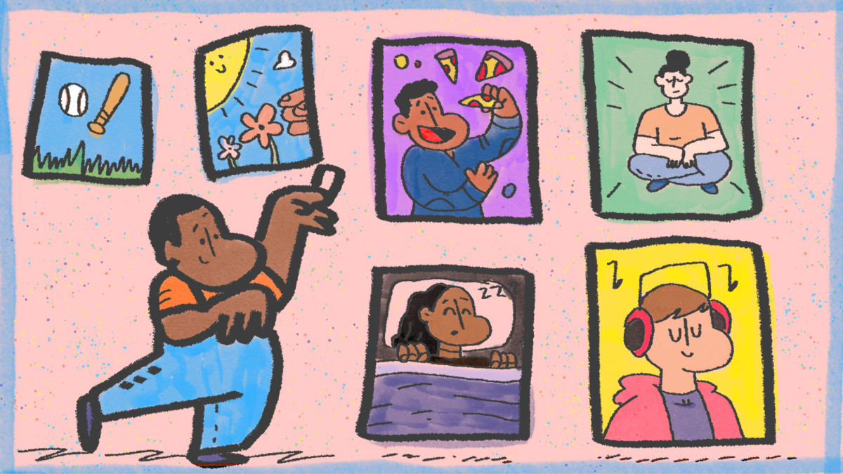 Cartoons of adults in a variety of fun activities.