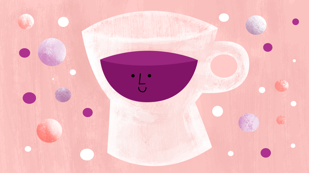 A white cup with purple liquid and a smiley face.
