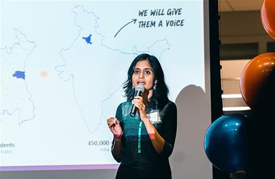 Ananya Tiwari presenting about SwaTaleem