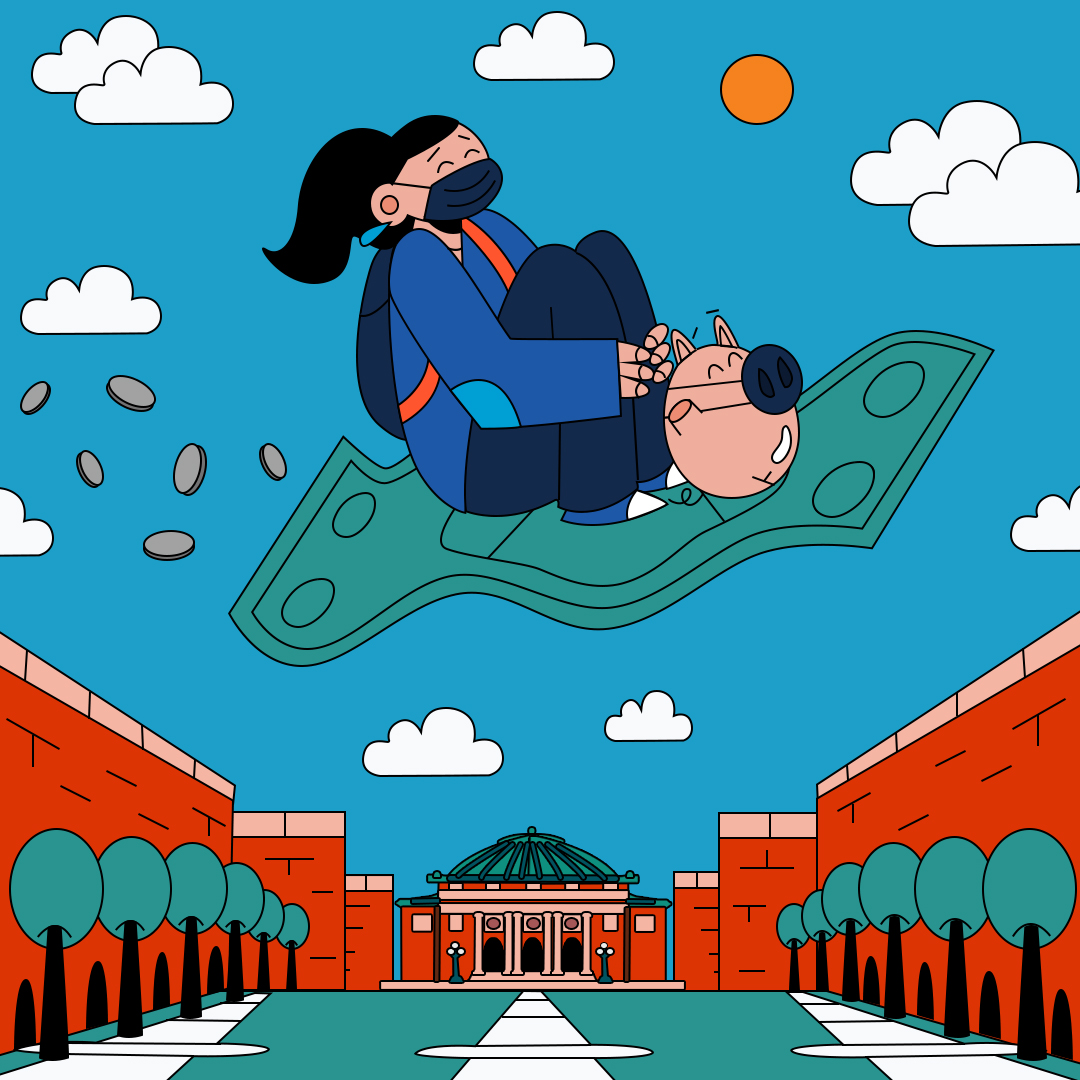 Person rides a magic carpet shaped like a dollar bill trailed by money led by a piggy bank over the University of Illinois campus.