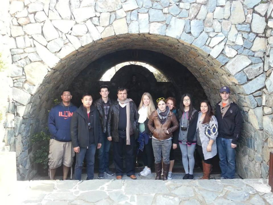 MGS study abroad course students pay tribute to the tomb of Archbishop Makarios, Cyprus, Mount Troodos (January 2014)