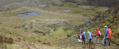 students hiking in ecuador as part of study abroad program