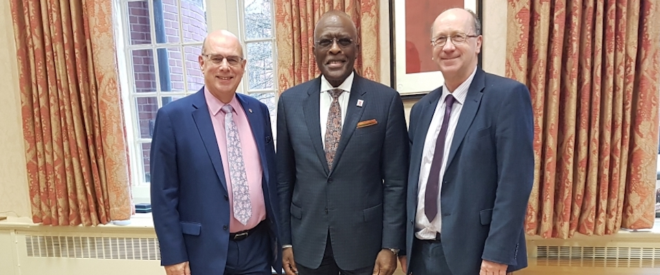 From left, University of Birmingham Vice-Chancellor Professor Sir David Eastwood, University of Illinois at Urbana-Champaign Chancellor Robert J Jones, and University of Birmingham Pro-Vice-Chancellor for Research and Knowledge Transfer Professor Tim Softly