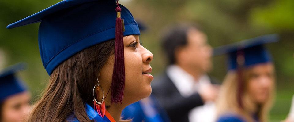 close-up of grad looking ahead