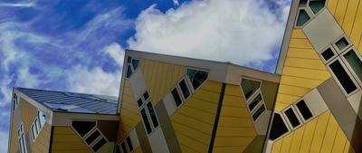 close-up of yellow angular houses
