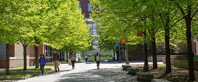 student walking between buildings
