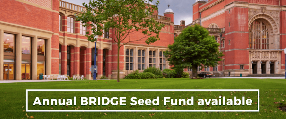 fall image of the birmingham campus with message announcing bridge seed fund
