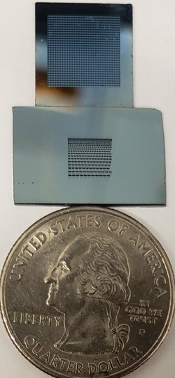 Optical image of two microarray chips beside a quarter. The first chip (top) is an array of 900 microwells of 300-μm well size. The second chip (bottom) includes a gradient of well sizes for spheroid formation.