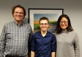 Dan Wickland with his advisers (left to right): Prof. Matthew Hudson, Dan Wickland, and Prof. Yan Asmann