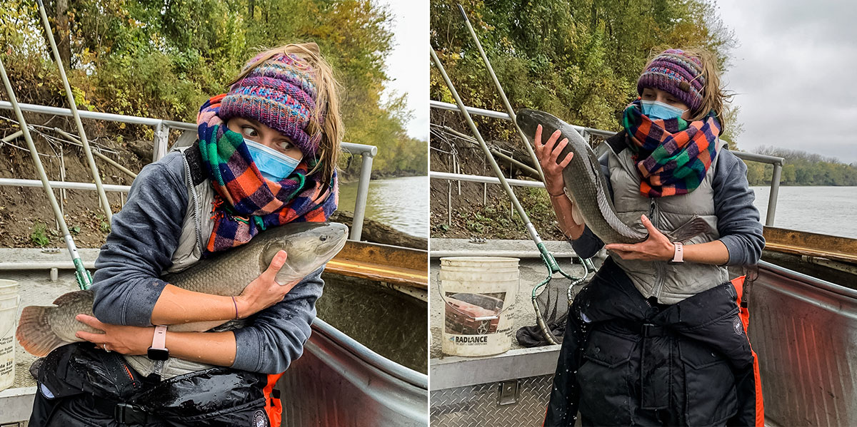 scientist holding a slippery bowfin