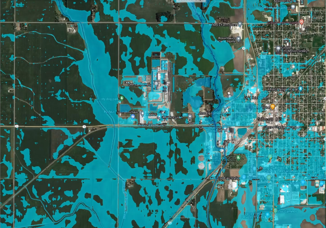 Water Survey simulation of Aug. 12 Gibson City flood