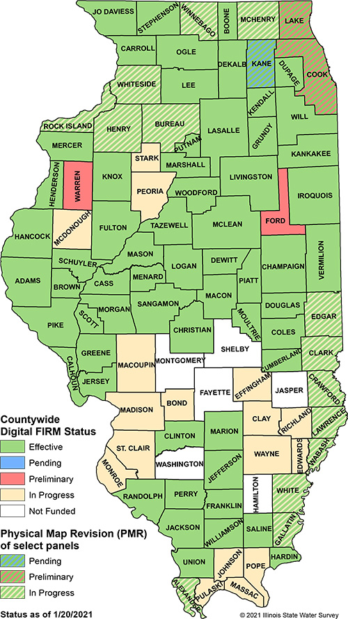 map of Illinois flood insurance rate map status by county