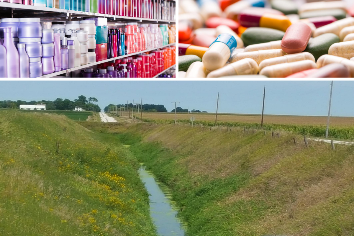Shampoo and personal products bottles on a shelf (top left), assorted pills (top right), farm field drainage ditch (bottom)