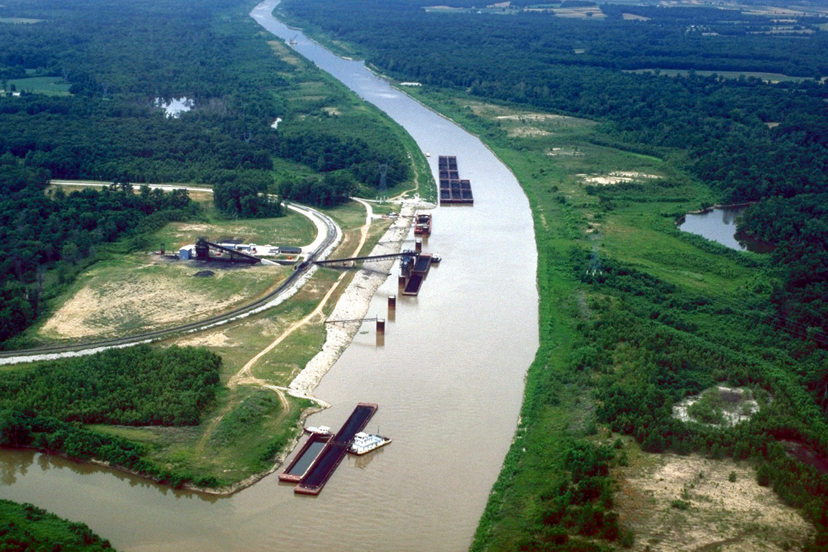 Aerial view of the Kaskaskia River