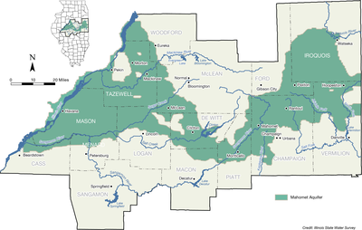 map of Central Illinois' Mahomet aquifer