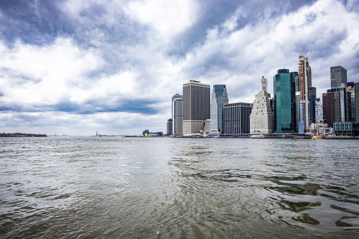 View of New York City from the East River.