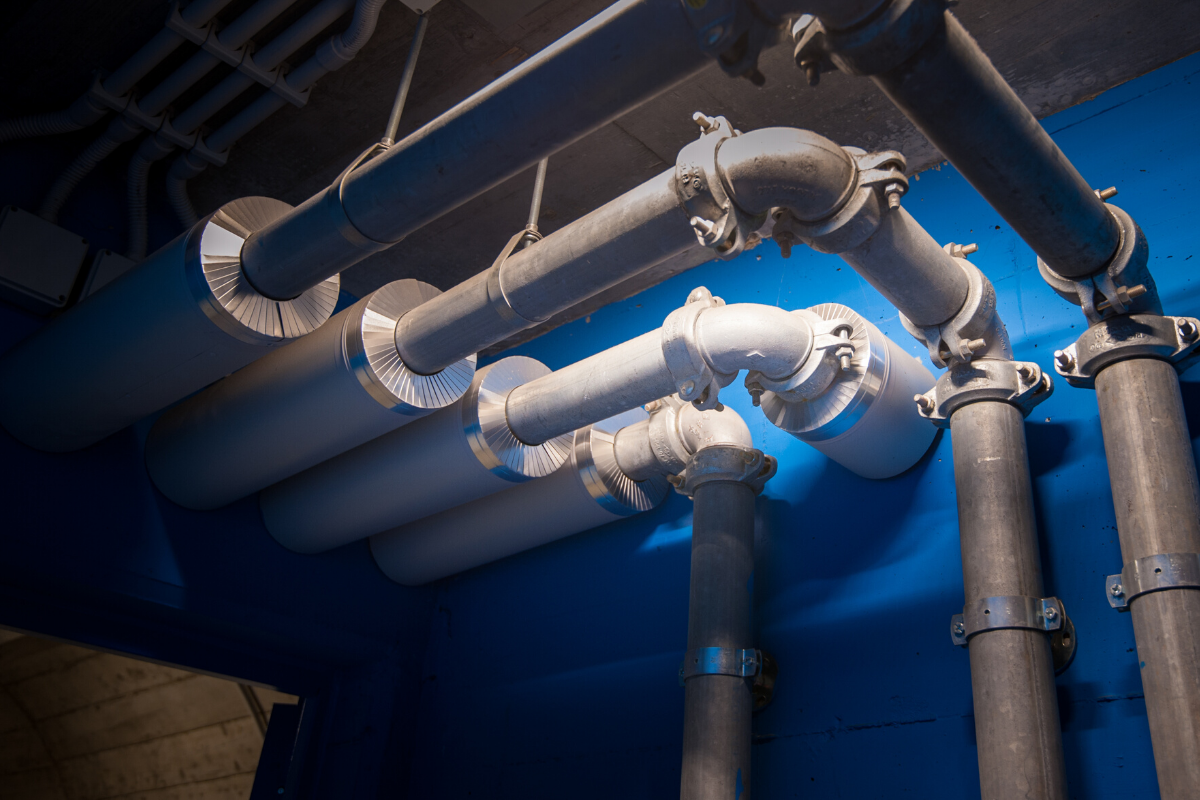 large pvc water pipes in a building