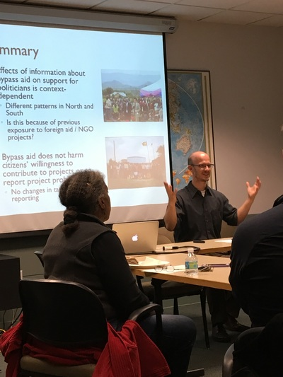 <p>Professor Matthew Winters gives brown bag</p>