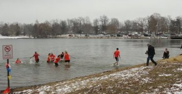 Students plunging at the Lake of the Woods