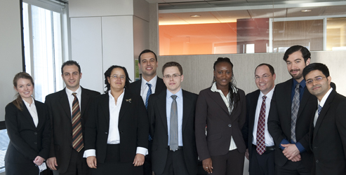 Competitors for the 2012 Scholarship Case Competition included (L to R): Ashley Hudson, Harout Sahakian, Isak Griffiths, Egemen Gozoglu, Matthias Uhl, Rose Aba Dodd, Adam Sherman, Steven Rodriguez, and Utkarshi Joshi.