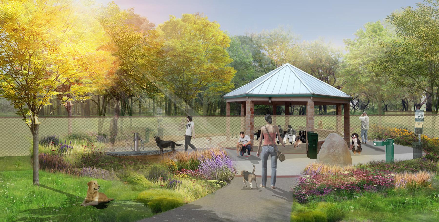 A mock-up of the Dog Park design