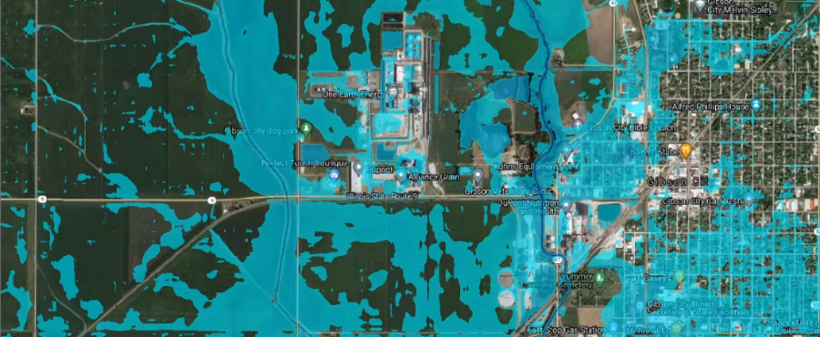 flood simulation map of Gibson City