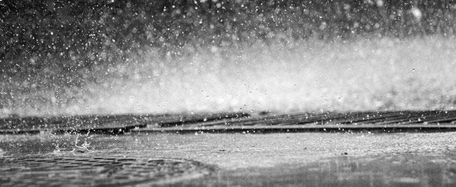 rainwater hits the ground