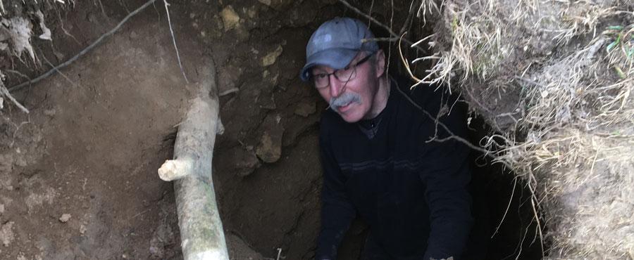 Sam Panno explores Calf Cave in Jo Daviess county