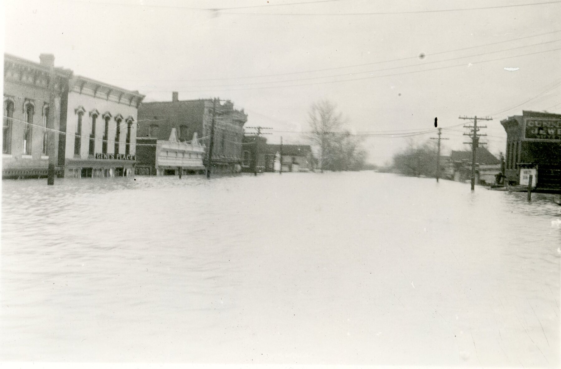 flooded street and buildings in Mound City, Illinois, in 1937