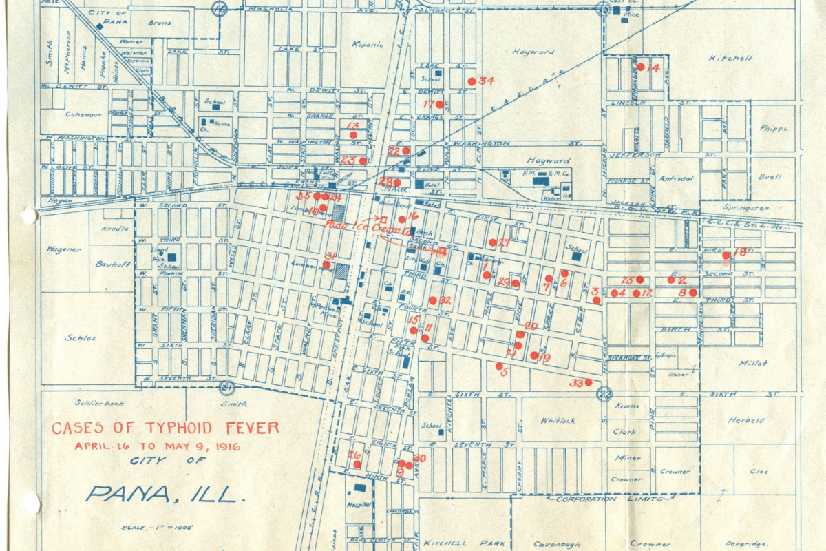 Early map contact tracing efforts conducted by ISWS in Pana, Illinois, 1916.
