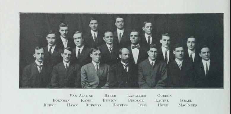 group photo of the Phi Lambda Upsilon chemical fraternity, 1912 Illio