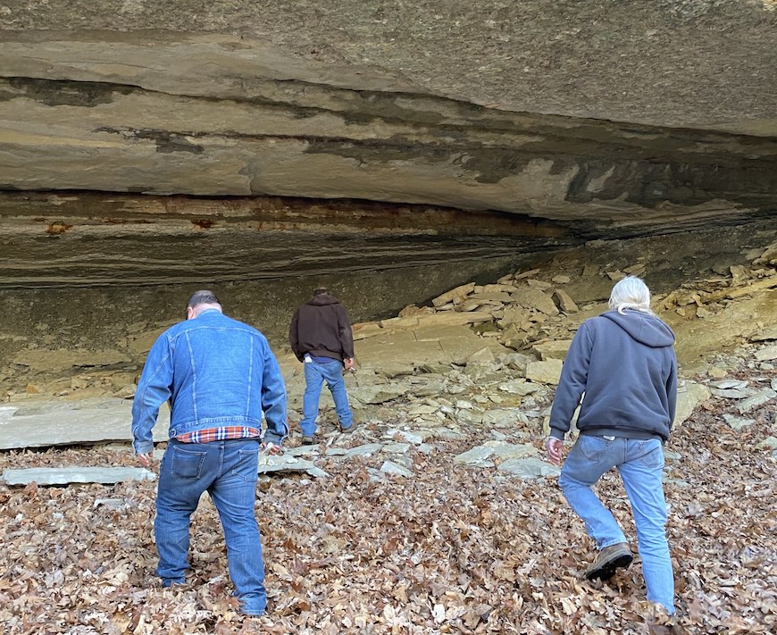 three archaeologists looking for chert in Jersey County, Illinois.