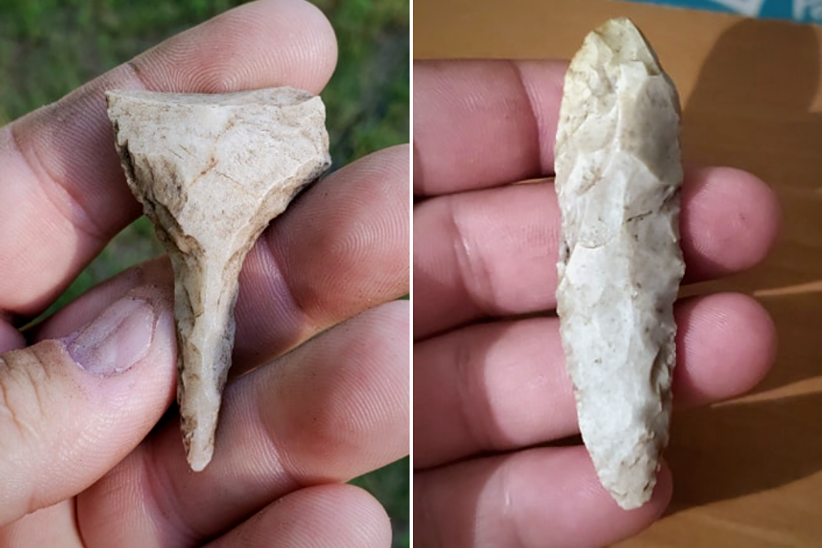 Stone tools are not definitive but suggestive of generalized Archaic period (probably 3,000 or more years old) – one is a drill or perforating tool and the other may be a reworked knife form.