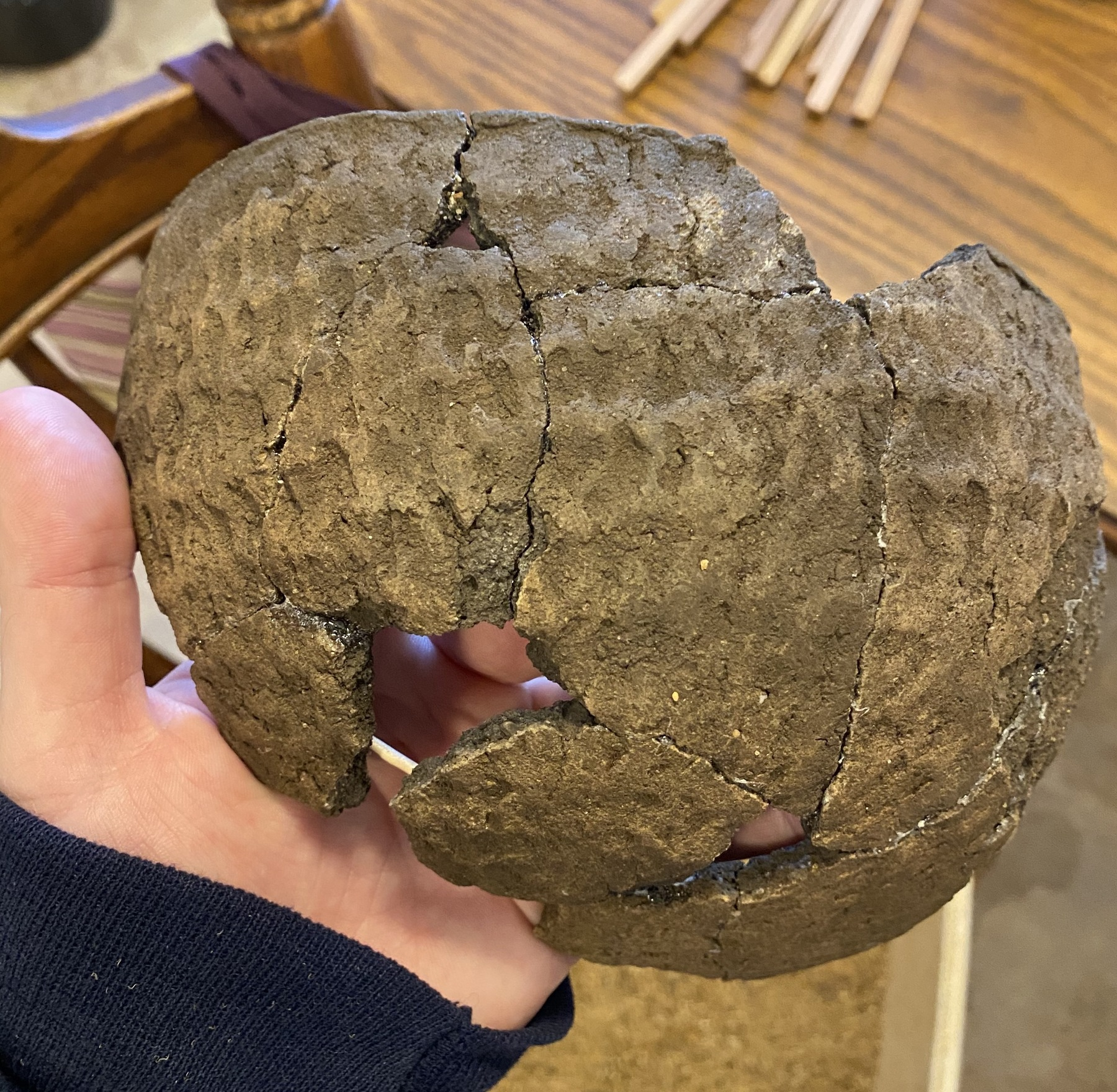 A recently reconstructed La Crosse fabric-marked vessel from the Herb Mangold donation.