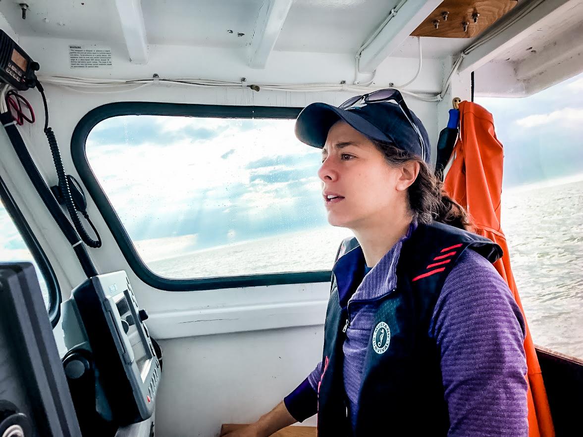 Hillary Glandon on boat