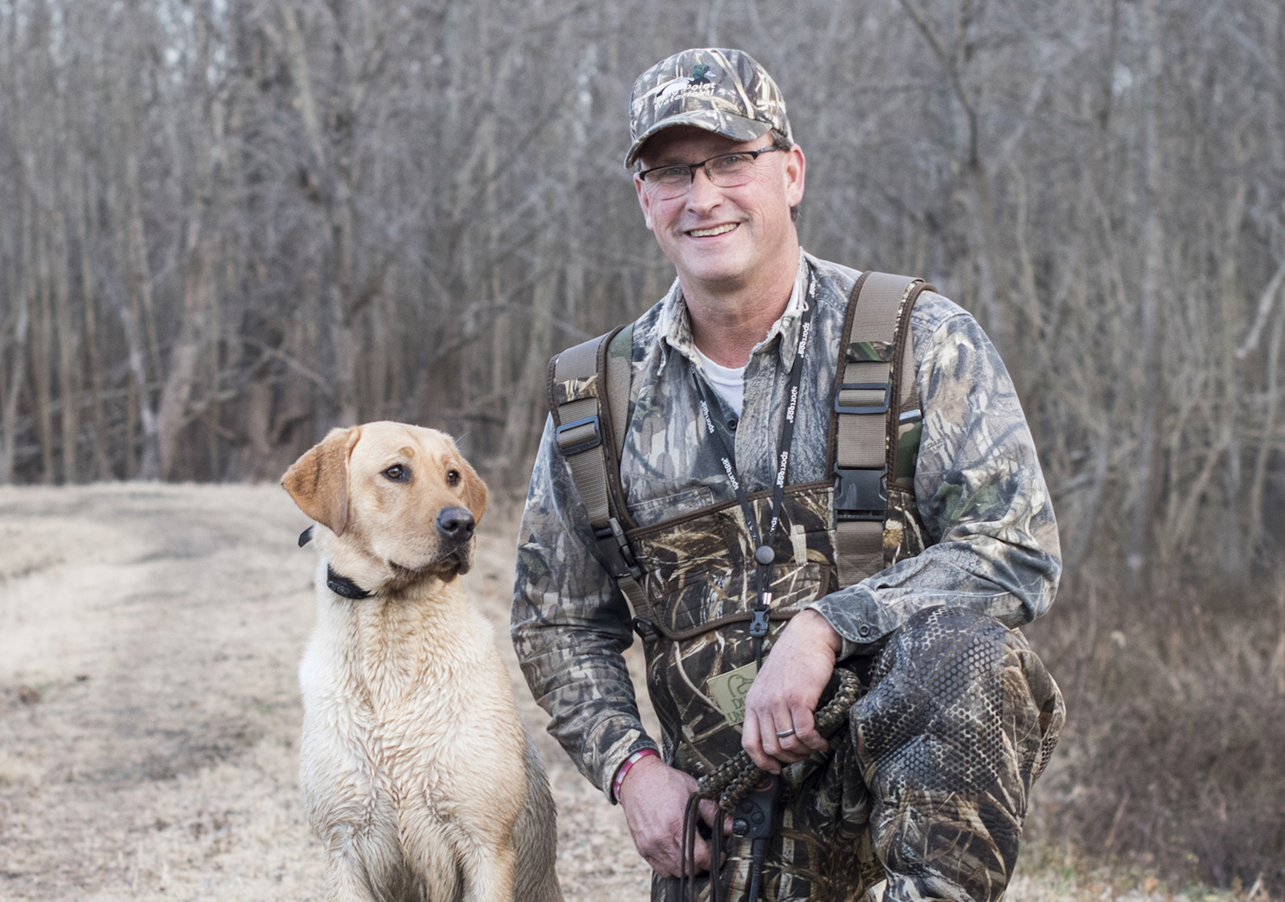 Aaron Yetter and his dog Piper