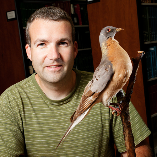 Kevin Johnson with a bird perched on his shoulder.