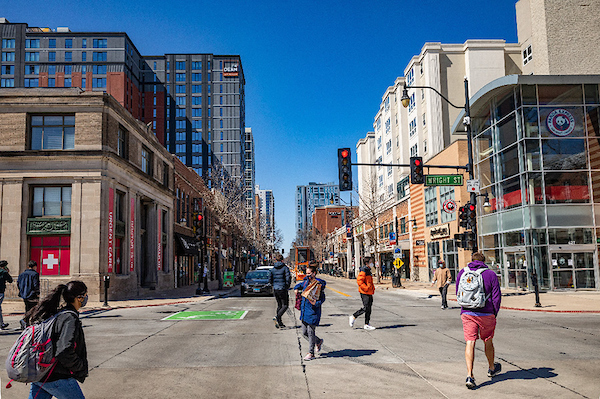 Campustown with students walking