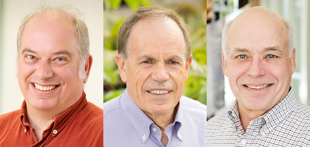 From left, Axel Hoffmann, Stephen Long and Donald Ort are among the most highly cited researchers in the world.