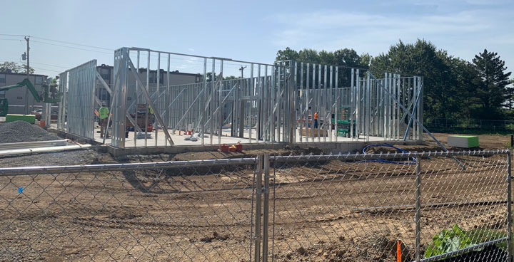 metal stud framework of walls in place for new building