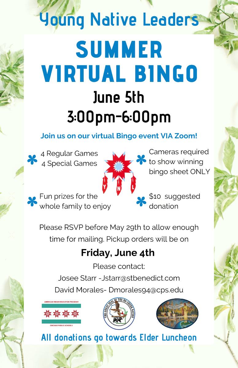 Summer Virtual Bingo, Young Native Leaders Flyer