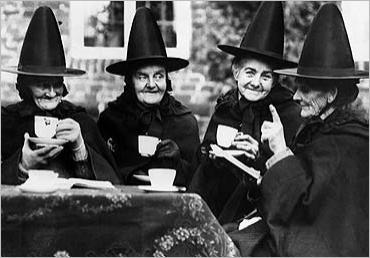Witches drinking tea