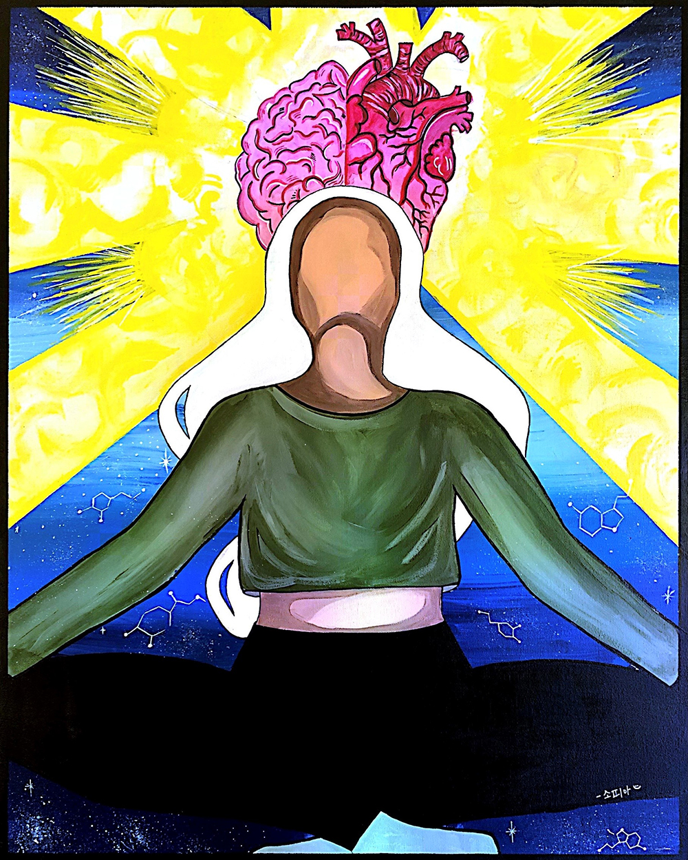 Painting of a crossed legged seated person, arms outstretched, head arched back, brain, heart and light streaks above them.