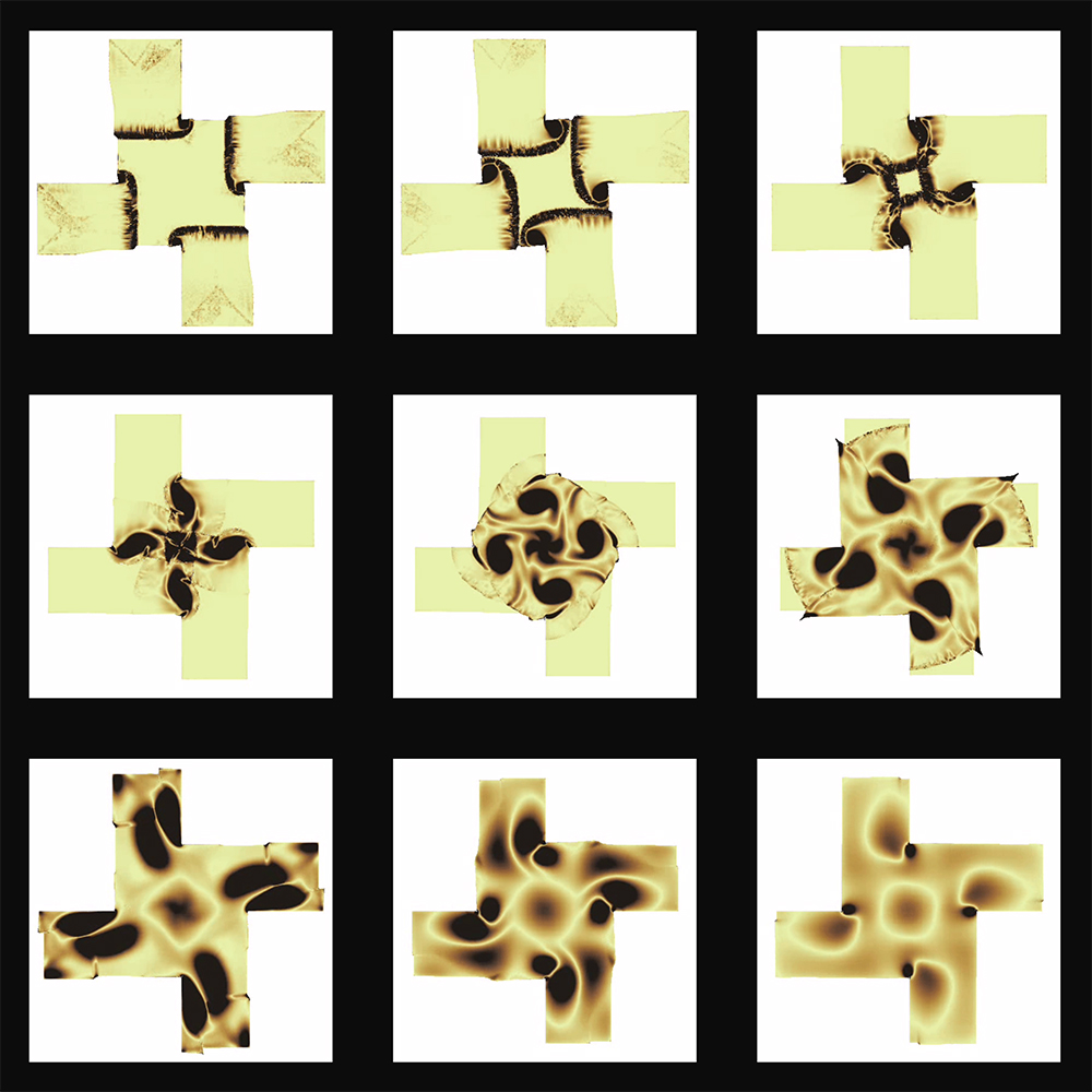 Nine squares hold yellow windmill-shapes with different black patterns on each one.