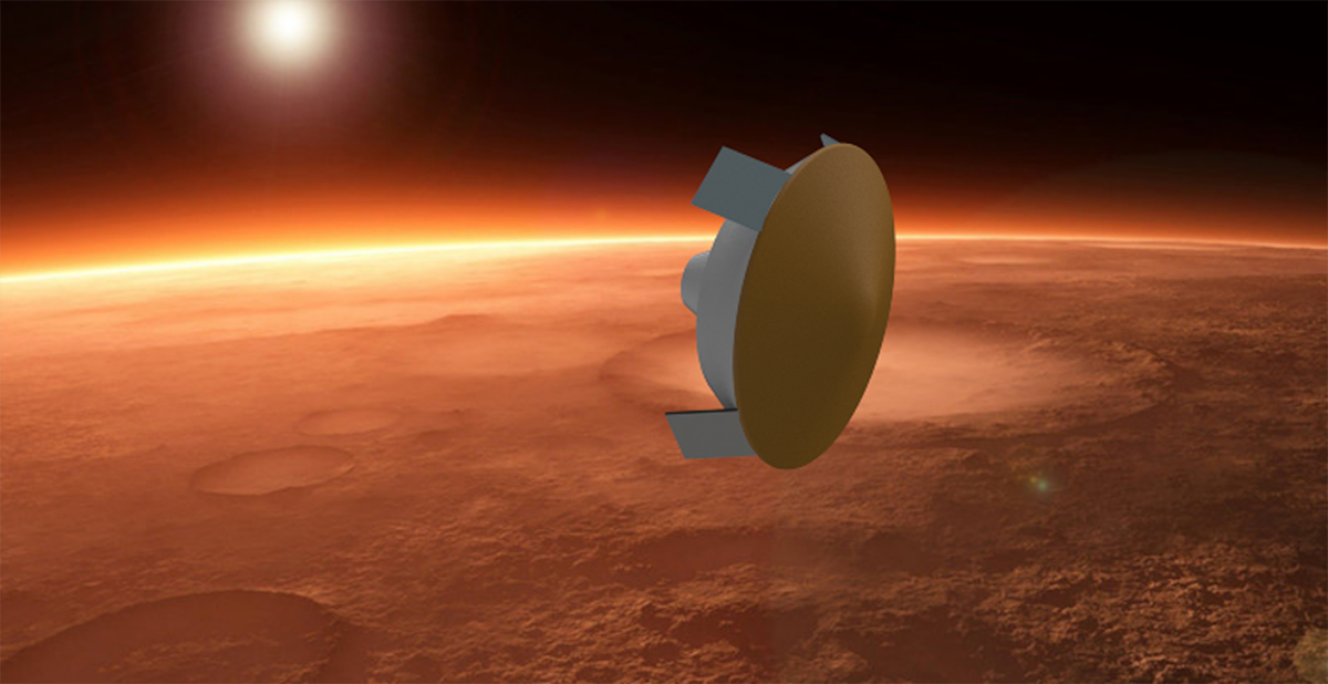A round landing vehicle with flaps flies through the Martian atmosphere.