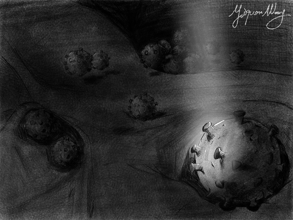 Black and white painting of the influenza virus invading host cells bathed in a beam of light.