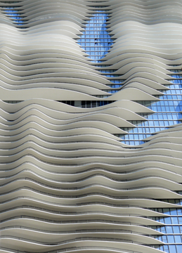 The undulating side of the Aqua Tower in Chicago
